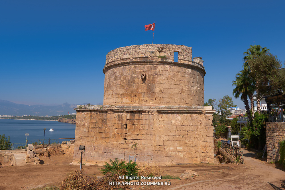 Hidirlik Tower in Kaleici district, Antalya old town, Turkey