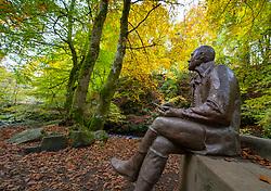 Statue of Robert Burns at Birks of Aberfeldy woodland walk , Perthshire, Scotland, UK