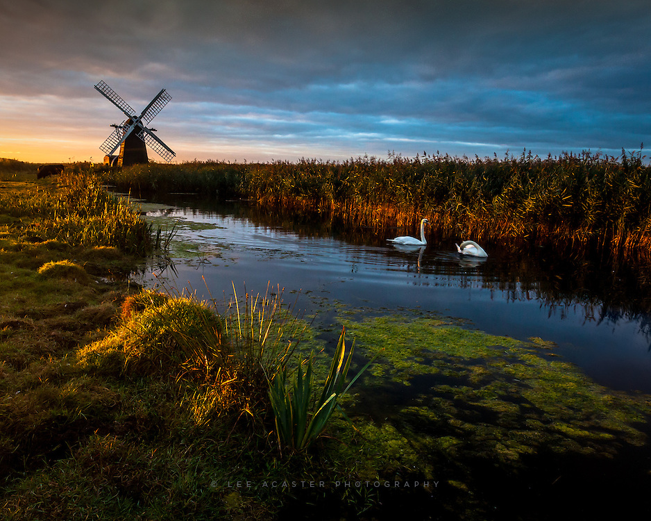 Herringfleet Smock Mill at dawn, Slightly different shot and a crop of a shot from a couple of weeks ago.