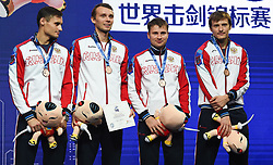 WUXI, July 27, 2018  Bronze-medalists players of Russia react during the awarding ceremony for the men's foil team competition at the Fencing World Championships in Wuxi, east China's Jiangsu Province, July 27, 2018. (Credit Image: © Li Bo/Xinhua via ZUMA Wire)