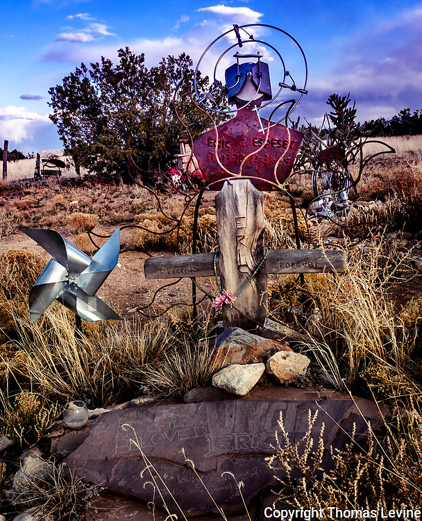 Cemetery at Madrid New Mexico where creative grave markers show the talents of the dead.