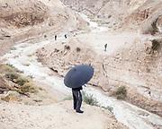 People watch the floods in the Judea Desert.