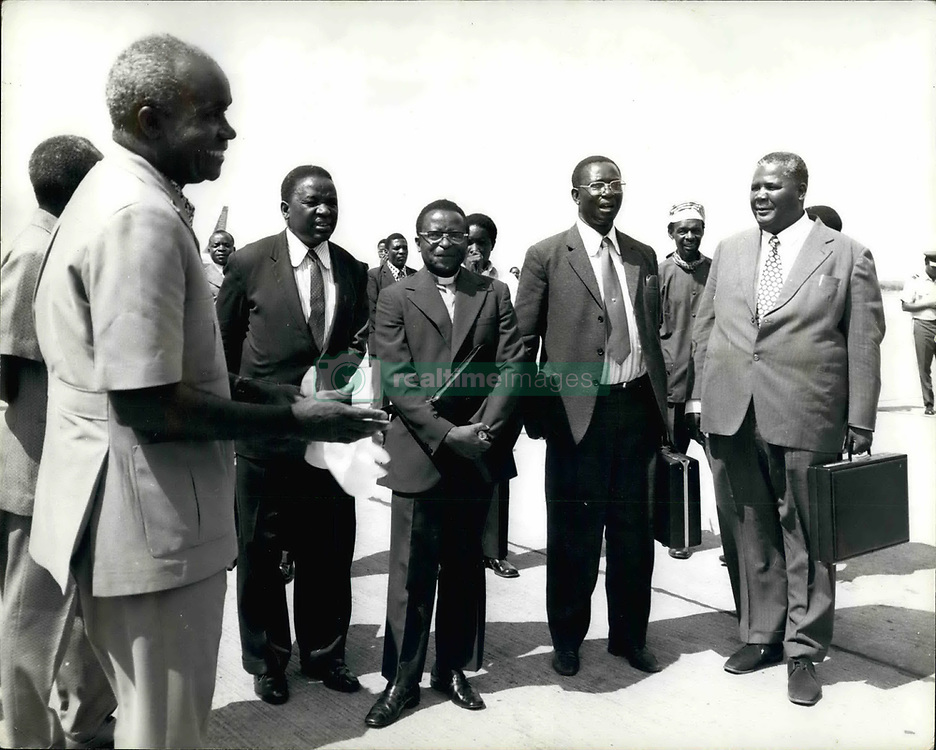 Feb. 10, 1975 - February 10th, 1975 President Kaunda greets Nationalist Leader. Photo Shows: President Kaunda of Zambia (left), seen greeting leading members of the African National Council ANC), when they arrived recently in Lusaka, before going to Dar es Salaam for talks with President Nyerere of Tanzania, President Kaunda of Zambia and Sir Seretse Khama, President of Botswana. Seen in centre is Bishop Abel Muzorewa, President of the ANC. (Credit Image: © Keystone Press Agency/Keystone USA via ZUMAPRESS.com)