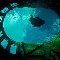 Descent, main funnel, USS Kittiwake