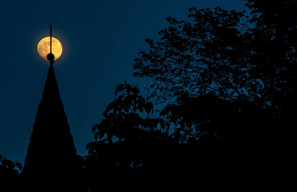 Full Moon Over Oella Church in Oella, Maryland.