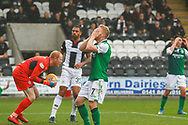 Daryl Horgan of Hibernian FC misses a close range header during the Ladbrokes Scottish Premiership match between St Mirren and Hibernian at the Simple Digital Arena, Paisley, Scotland on 29th September 2018.