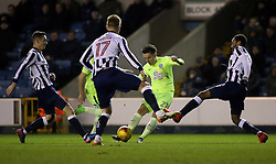 Tom Nichols of Peterborough United is closed down by the Millwall defence - Mandatory by-line: Joe Dent/JMP - 28/02/2017 - FOOTBALL - The Den - London, England - Millwall v Peterborough United - Sky Bet League One