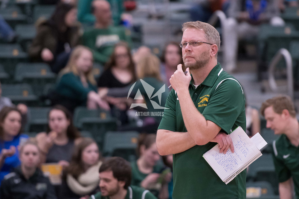 Head Coach Greg Barthel of the Regina Cougarsin action during men's Volleyball home game on January 21 at Centre for Kinesiology, Health and Sport. Credit: Arthur Ward/Arthur Images