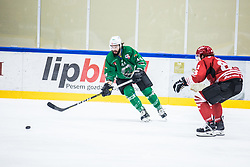 PLANKO David vs ZAJC Miha during the match between HDD Jesenice vs HK SZ Olimpia at 16th International Summer Hockey League Bled 2019 on 24th August 2019. Photo by Peter Podobnik / Sportida