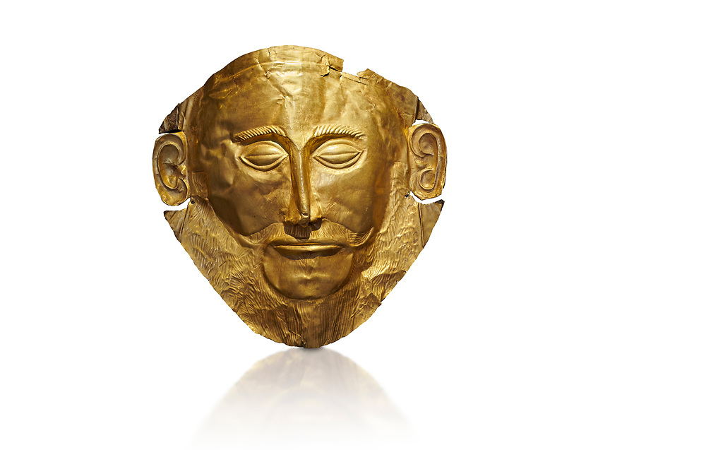 Mycenaean gold death mask, Mask of Agamemnon, Grave Cicle A, Mycenae, Greece.National Archaeological Museum of Athens.  White background.<br /> <br /> The mask from Grave V depicts an imposing face of a bearded man descovered by  Heinrich Schliemann who believed it was the body of Agamemnon, this is unproven to date.  The Mycenaean death mask belonged to a warrior and made of gold leaf it cocered the dead mans face held on by cord threaded tgrough the two sides of the mask.  The mask of Agamemnon was created from a single thick gold sheet, heated and hammered against a wooden background with the details chased on later with a sharp tool. The artifact dates from the 16th century BC. .<br /> <br /> If you prefer to buy from our ALAMY PHOTO LIBRARY  Collection visit : https://www.alamy.com/portfolio/paul-williams-funkystock/mycenaean-art-artefacts.html . Type -   Athens    - into the LOWER SEARCH WITHIN GALLERY box. Refine search by adding background colour, place, museum etc<br /> <br /> Visit our MYCENAEN ART PHOTO COLLECTIONS for more photos to download  as wall art prints https://funkystock.photoshelter.com/gallery-collection/Pictures-Images-of-Ancient-Mycenaean-Art-Artefacts-Archaeology-Sites/C0000xRC5WLQcbhQ