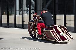 Kory Souza on one of his custom baggers at Paul Yaffe's Baddest Bagger bike show during Biketoberfest. Daytona Beach, FL, USA. Thursday October 19, 2017. Photography ©2017 Michael Lichter.