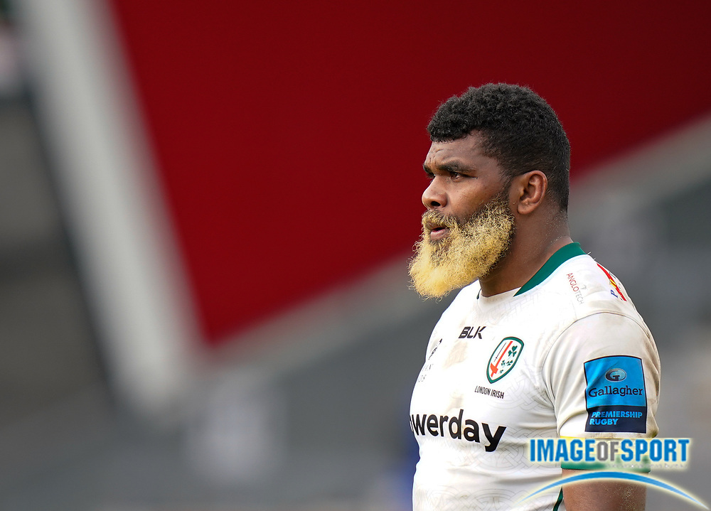 London Irish Back No.8 Albert Tuisue during a Gallagher Premiership Round 14 Rugby Union match, Sunday, Mar 21, 2021, in Eccles, United Kingdom. (Steve Flynn/Image of Sport)