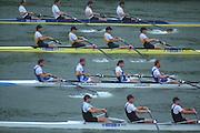 Lucerne, SWITZERLAND,  Men's Four, top GER, AUS, GBR and NZL. Move away from the start in their heat. 2000 FISA World Cup, Rotsee Rowing Course, June 2000.  [Mandatory Credit, Peter Spurrier/Intersport-images]..GER1. M4- Bow, Joerg DIESSNER, Dirk MEUSEL. Philipp STUEER.  Bernd HEIDICKER...AUS1. M4- Bow James STEWART, Ben DODWELL, Geoff STEWART. Bo HANSON. ..GBR.M4- Bow James CRACKNELL, Steve REDGRAVE, Tim FOSTER, Matthew PINSENT...NZL.M4- Bow David SCHAPER,  Scott BROWNLEE, Toni DUNLOP, Rob HELLSTROM 2000 FISA World Cup, Lucerne, SWITZERLAND