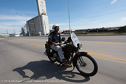 Anthony Rutledge of Connecticut riding his 1915 Harley-Davidson class-3 motorcycle during the Motorcycle Cannonball Race of the Century. Stage-8 from Wichita, KS to Dodge City, KS. USA. Saturday September 17, 2016. Photography ©2016 Michael Lichter.