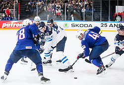 Joonas Kemppainen of Finland vs Pierre-Edouard Bellemare of France during the 2017 IIHF Men's World Championship group B Ice hockey match between National Teams of Finland and France, on May 7, 2017 in Accorhotels Arena in Paris, France. Photo by Vid Ponikvar / Sportida