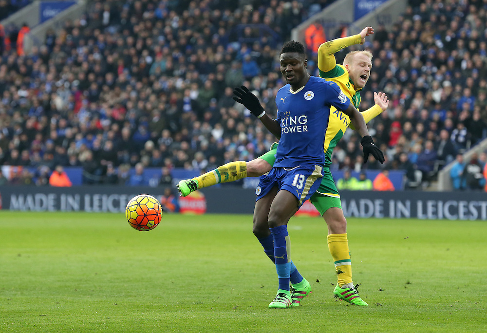 Leicester City's Daniel Amartey and Norwich City's Steven Naismith<br /> <br /> Photographer Stephen White/CameraSport<br /> <br /> Football - Barclays Premiership - Leicester City v Norwich City - Saturday 27th February 2016 - King Power Stadium - Leicester<br /> <br /> © CameraSport - 43 Linden Ave. Countesthorpe. Leicester. England. LE8 5PG - Tel: +44 (0) 116 277 4147 - admin@camerasport.com - www.camerasport.com