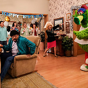 """THE GOLDBERGS - """"Pickleball"""" - Beverly discovers Murray is actually a year younger than they knew so she plans a do-over at celebrating his 50th birthday, while Coach Mellor attempts to prepare non-athletic Adam for tryouts for pickleball, on an all-new episode of """"The Goldbergs,"""" WEDNESDAY, JAN. 15 (8:00-8:30 p.m. EST), on ABC. (ABC/Lisa Rose)<br /> HAYLEY ORRANTIA, SAM LERNER, CEDRIC YARBROUGH, STEPHANIE COURTNEY, JENNIFER IRWIN, MINDY STERLING, WENDI MCLENDON-COVEY"""