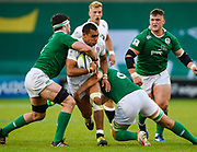 England centre Joe Marchant drives into Ireland second-row Sean O'Connor and flanker Greg Jones during the World Rugby U20 Championship Final   match England U20 -V- Ireland U20 at The AJ Bell Stadium, Salford, Greater Manchester, England onSaturday, June 25, 2016. (Steve Flynn/Image of Sport)