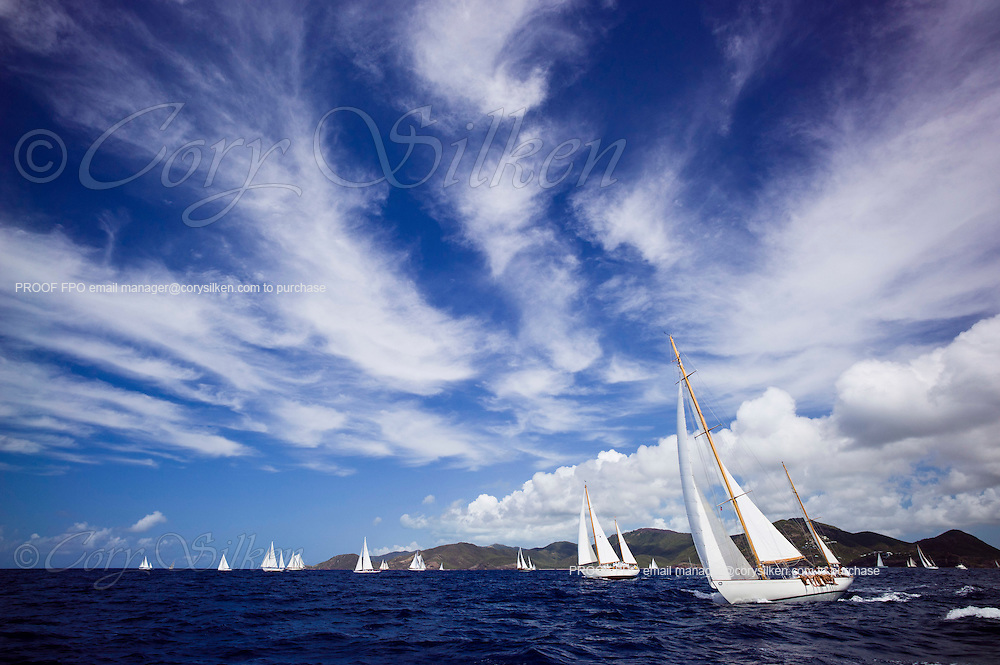 Stormy Weather sailing in the Old Road Race at the 2011 Antigua Classic Yacht Regatta.