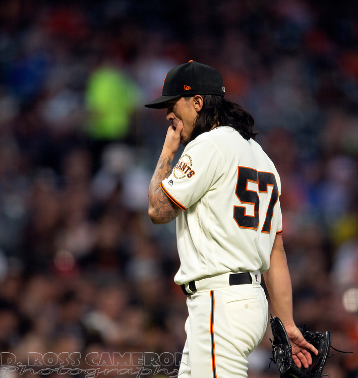 San Francisco Giants starting pitcher Dereck Rodriguez reacts to allowing a two-run home run to San Diego Padres' Austin Hedges during the fourth inning of a baseball game, Thursday, Aug. 29, 2019, in San Francisco. (AP Photo/D. Ross Cameron)