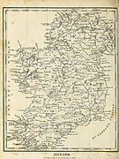 early 19th century map of Ireland Copperplate engraving From the Encyclopaedia Londinensis or, Universal dictionary of arts, sciences, and literature; Volume XI;  Edited by Wilkes, John. Published in London in 1812