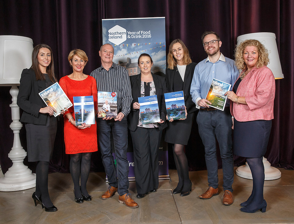 Tourism Ireland Celtic Connections 2016 event in the Corinthian, Glasgow. L to R :   Aine McFeely City Hotel Derry, Karen Henderson Visit Derry, Emmett McCourt NI Chef and Author, Charlene Shongo City of Derry Airport, James Huey Walled City Brewery and Caroline Mulligan TI.  Picture Robert Perry 27th Jan 2016<br /> <br /> Must credit photo to Robert Perry<br /> <br /> Image is free to use in connection with the promotion of the above company or organisation. 'Permissions for ALL other uses need to be sought and payment make be required.<br /> <br /> <br /> Note to Editors:  This image is free to be used editorially in the promotion of the above company or organisation.  Without prejudice ALL other licences without prior consent will be deemed a breach of copyright under the 1988. Copyright Design and Patents Act  and will be subject to payment or legal action, where appropriate.<br /> www.robertperry.co.uk<br /> NB -This image is not to be distributed without the prior consent of the copyright holder.<br /> in using this image you agree to abide by terms and conditions as stated in this caption.<br /> All monies payable to Robert Perry<br /> <br /> (PLEASE DO NOT REMOVE THIS CAPTION)<br /> This image is intended for Editorial use (e.g. news). Any commercial or promotional use requires additional clearance. <br /> Copyright 2015 All rights protected.<br /> first use only<br /> contact details<br /> Robert Perry     <br /> 07702 631 477<br /> robertperryphotos@gmail.com<br />        <br /> Robert Perry reserves the right to pursue unauthorised use of this image . If you violate my intellectual property you may be liable for  damages, loss of income, and profits you derive from the use of this image.
