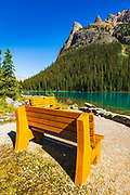 Benches at Lake O'hara, Yoho National Park, British Columbia, Canada