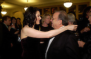Nigella Lawson and Ronald Harwood, 'Feast Food that celebrates Life' by Nigella Lawson book launch. Cadogan Hall, Sloane Terace. 11 October 2004. ONE TIME USE ONLY - DO NOT ARCHIVE  © Copyright Photograph by Dafydd Jones 66 Stockwell Park Rd. London SW9 0DA Tel 020 7733 0108 www.dafjones.com