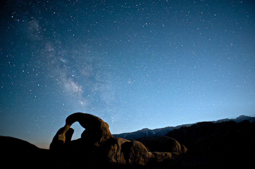 Mobias Arch in the Alabama Hills of the Eastern Sierra as seen at 12:32am on an early summer's night.