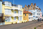 Historic colourful houses on the seafront, Aldeburgh, Suffolk, England, UK - Strafford House