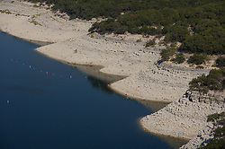 Exposed shoreline of Lake Travis during an extended drought in Texas