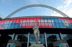 A general view of the Bobby Moore statue outside of the stadium ahead of the FIFA World Cup Qualifying match at Wembley Stadium, London. Picture date: Tuesday October 12, 2021.