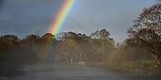 A rainbow rises from The River Laune near Dunloe Castle at Beaufort, County Kerry on Monday. The already swollen river is expected to rise even further with more rain forcasted for this week.<br /> Photo Don MacMonagle