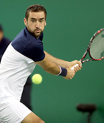 SHANGHAI, Oct. 12, 2017  Marin Cilic of Croatia returns the ball during the singles third round match against Steve Johnson of the United States at 2017 ATP Shanghai Masters tennis tournament in Shanghai, east China, on Oct. 12, 2017. Marin Cilic won 2-0. (Credit Image: © Fan Jun/Xinhua via ZUMA Wire)