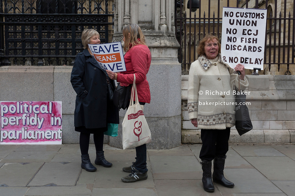 A day after Commons Speaker John Bercow announced his refusal to accept Prime Minster Theresa May's third Brexit Meaningful Vote, Leave Means Leaves Brexiteers protest outside the gates of parliament, on 19th March 2019, in London, England.