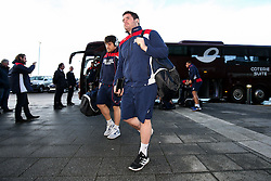 Ryan Bevington of Bristol Rugby arrives at the AJ Bell Stadium - Rogan Thomson/JMP - 01/01/2017 - RUGBY UNION - AJ Bell Stadium - Manchester, England - Sale Sharks v Bristol Rugby - Aviva Premiership New Year's Day Fixture.