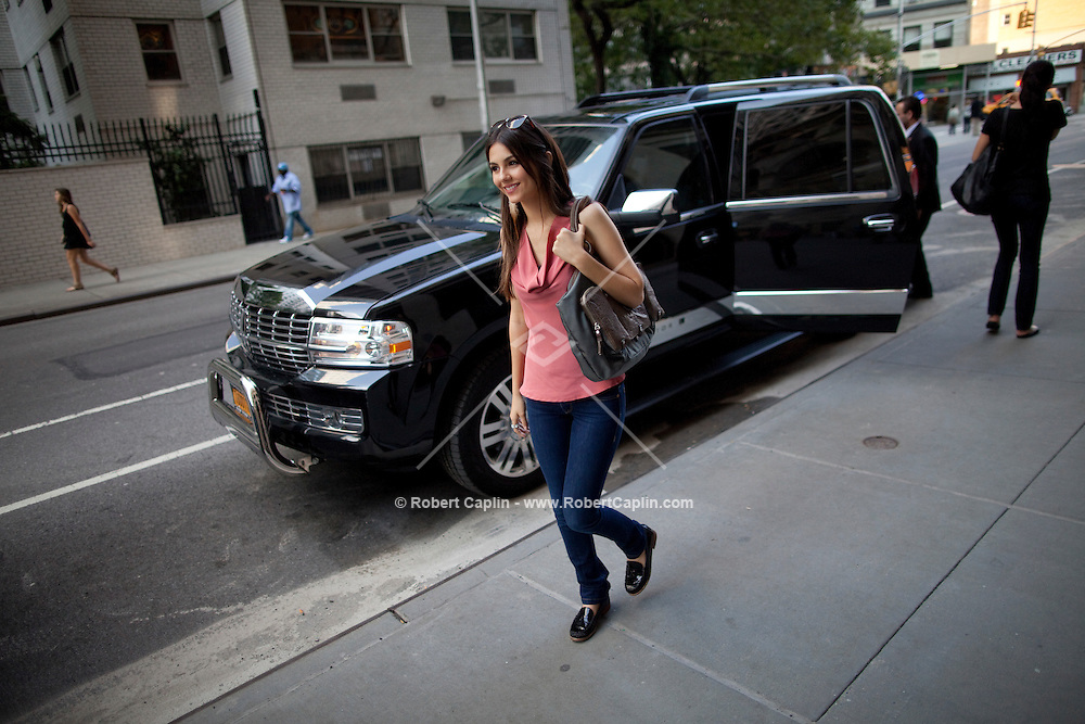 Actress and singer Victoria Justice in New York during Fall Fashion week 2011. ..Photo by Robert Caplin.