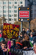Waterloo Bridge is blocked - Extinction Rebellion Day -  co hosted by Rising Up, 'Rebel Against the British Government For Criminal Inaction in the Face of Climate Change Catastrophe and Ecological Collapse'. A protest that involves blocking 5 bridges: Southwark, Blackfriars, Waterloo, Westminster and Lambeth.