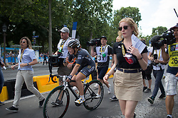 Chloe Hosking (AUS) of Wiggle Hi5 Cycling Team celebrates winning the La Course, a 89 km road race in Paris on July 24, 2016 in France.