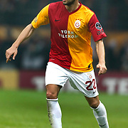 Galatasaray's Hakan Balta On or with the ball (stood full) during their Turkish superleague soccer derby match Galatasaray between Besiktas at the TT Arena at Seyrantepe in Istanbul Turkey on Sunday, 26 February 2012. Photo by TURKPIX