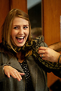 12/11/2018 Repro free: Galway Science and Technology Festival, the largest science event in Ireland, runs from 11-25 November featuring exciting talks, workshops and special events. Full programme at GalwayScience.ie. Ms  Corina Delaney from Our  Lady's College Galway  with a Python from The Bug Doctors collection ( Dr Michel Dugon- NUI Galway) Photo:Andrew Downes, Xposure.