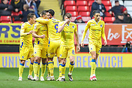 Bristol Rovers defender Joe Martin (29) celebrates with teammate, Bristol Rovers forward Stefan Payne (9) after scoring a goal taking the score to 1-1 during the EFL Sky Bet League 1 match between Charlton Athletic and Bristol Rovers at The Valley, London, England on 24 November 2018.