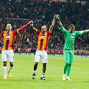 Galatasaray's players celebrate victory during their Turkish superleague soccer derby match Galatasaray between Fenerbahce at the AliSamiYen spor kompleksi TT Arena in Istanbul Turkey on Saturday, 18 october 2014. Photo by Aykut AKICI/TURKPIX