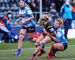 Alex Callender of Worcester Warriors Women is tackled by Orla Mccallion of DMP Durham Sharks - Mandatory by-line: Nick Browning/JMP - 09/01/2021 - RUGBY - Sixways Stadium - Worcester, England - Worcester Warriors Women v DMP Durham Sharks - Allianz Premier 15s
