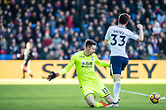 (33) Ben Davies of Tottenham Hotspur, Crystal Palace #13 Wayne Hennessey during the Premier League match between Crystal Palace and Tottenham Hotspur at Selhurst Park, London, England on 25 February 2018. Picture by Sebastian Frej.