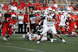 02 September 2017:   Will Marty in the pocket doesn't know James Graham is closing in for the sack during the Butler Bulldogs at  Illinois State Redbirds Football game at Hancock Stadium in Normal IL (Photo by Alan Look)