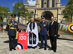 Undated handout photo of (left to right) Air Chief Marshal Sir Stephen Hiller, the Very Rev Stephen Forde, Irish Air Corps Brigadier General Sean Clancy and Northern Ireland Under Secretary of State Shailesh Vara pictured ahead of an event marking the RAF's centenary at St Anne's Cathedral in Belfast.