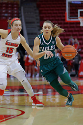 10 December 2017: Tiffany Suarez defended by Frannie Corrigan during an College Women's Basketball game between Illinois State University Redbirds and the Eagles of Eastern Michigan at Redbird Arena in Normal Illinois.