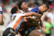 Warriors Jamayne Taunoa-Brown in tackled in the NRL Trial, Vodafone Warriors v Wests Tigers, Rotorua Stadium, Rotorua, Sunday, March 01, 2020. Copyright photo: Kerry Marshall / www.photosport.nz