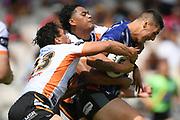Warriors Jamayne Taunoa-Brown in tackled in the NRL Trial, Vodafone Warriors v Wests Tigers, Rotorua Stadium, Rotorua, Sunday, March 01, 2020. Copyright photo: Kerry Marshall / www.photosport.nz
